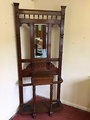 Edwardian Carved Oak Mirrored Hall Stand/coat Stand
