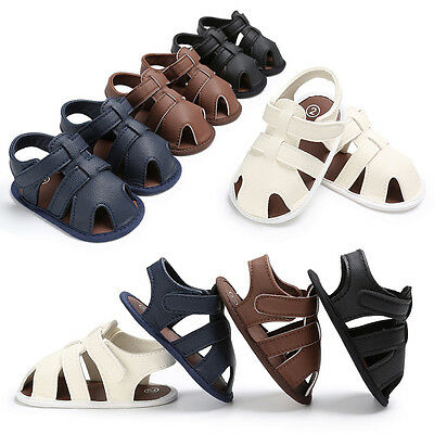 Toddler Baby Boys Crib Shoes Leather Soft Sole Sandals Anti-slip Prewalker 0-18M