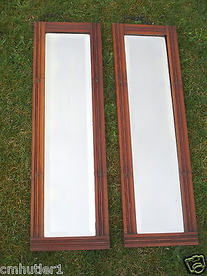 Matching pair of Antique bevelled glass MIRRORS, 73 x 22 cm. Collect only Surrey