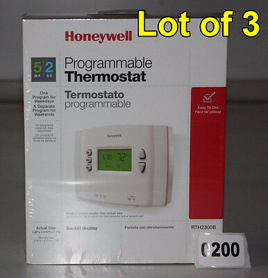 ( Lot of 3 ) - HONEYWELL RTH2300B 5-2 Day Programable Thermostats w/ Backlight