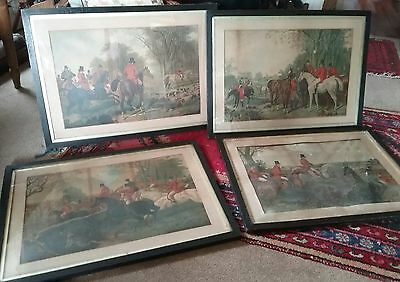 set of 4 large  early victorian hunting prints in oak frames ,