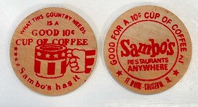 Vintage SAMBO'S RESTAURANT 10c Coffee WOODEN NICKEL Token Coin FT WAYNE INDIANA