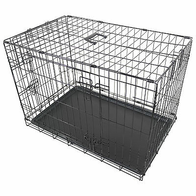 "30"" Large Dog Cage Crate Pet Puppy Folding Metal Cage Carrier Handle Black New"
