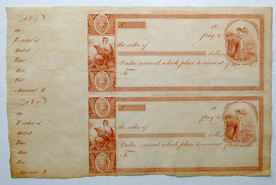 1800's DeSILVER'S / W E Tucker & J & W W Warr PHILADELPHIA Engraved BANK CHECK