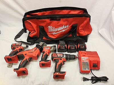 Milwaukee 4 Pc.Tool Set,1 Drill,Impact Driver,Hackzall, Worklight, & 3 Batteries