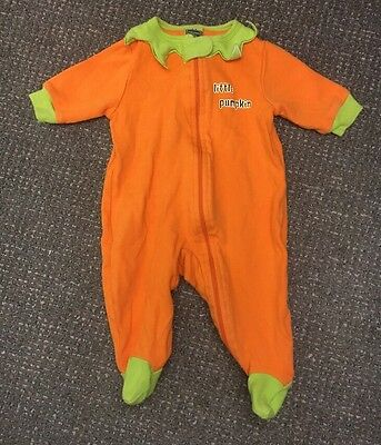 Orange Little Pumpkin Footie PJs - Sz 0-3M