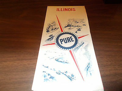 1967 Pure Oil Company Illinois Vintage Road Map
