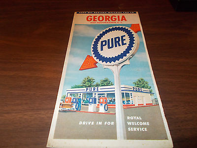 1959 Pure Oil Company Georgia Vintage Road Map / 59A