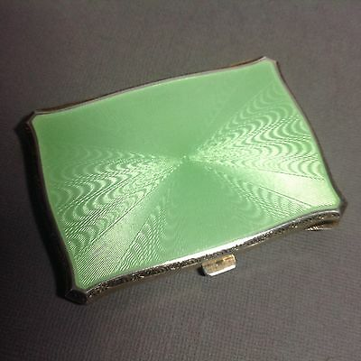 Antique Solid Silver Apple Green Guilloche Enamel Cigarette Case