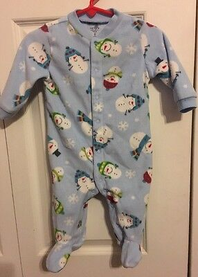Carter's Soft Fleece Footed Sleeper Blue Snowmen Infant Boy Girl Size 6 Month