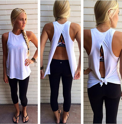 UK Womens Casual Sleeveless Vest T Shirt Backless Split Blouse Top Camisole Cami