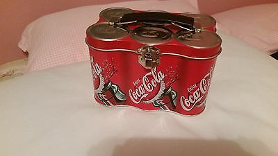 """2000 Coca-Cola Six Pack Of Cans Tin Lunch Box 6"""" X 4"""" X 4"""" Must See!!!!!!!"""