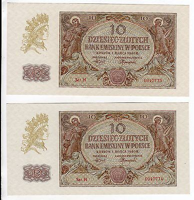2 Consecutive Serial #s Crisp Uncirculated Poland 1940 10 Zlotych P-94