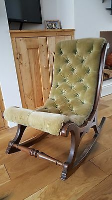 Rocking Nursing Bedroom Chair - Walnut or Mahogany with Green Velvet Victorian