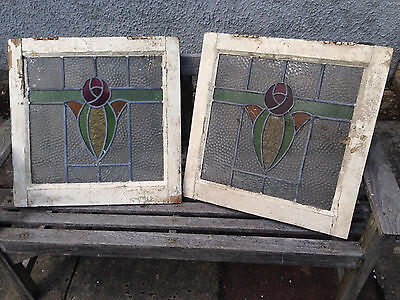 2 old antique vintage reclaim art nouveau stained glass leaded windows