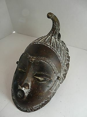 African Tribal Art, Bronze  Guro Mask, Ivory coast – 10 in
