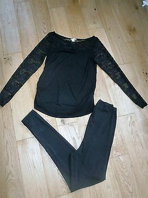 Black Maternity Clothes From H&m Top And Leggings Size M ( 12 )