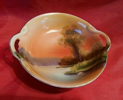 Beautiful NORITAKE Japanese dish 1930s swan on lake two handled bowl