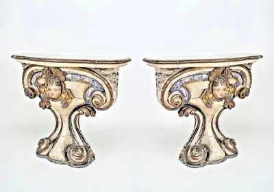 Pair of Mid-18th Century Neoclassical Italian Carved Consoles