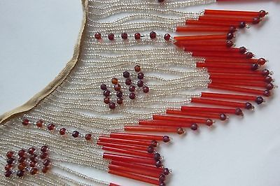 Antique glass beadword fringe 1920's