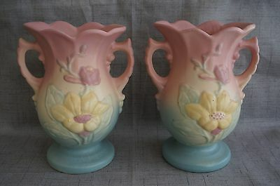 "HULL Art Pottery PAIR of MAGNOLIA VASES - #11-6 1/4"" - Pink, Yellow & Green"