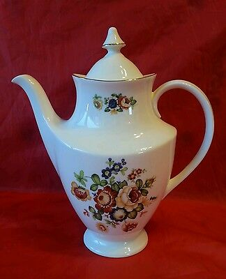 Royal Vale Floral Flowers English Bone China Large Coffee Pot Approx 10 Inches