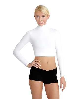 Capezio TB107 Turtleneck long Sleeve Midriff Top Kids and Adults Sizes