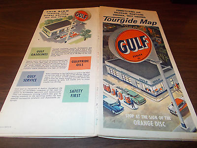 1950s Gulf Delaware/Maryland/virginia/West Virginia Vintage Road Map