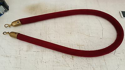Vintage Theatre Crowd Control Velvet Rope With Brass For Stanchion