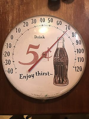 Vintage Coca Cola 5 Cent Bottle Advertising Thermometer ~ Tru Temp Jumbo Dial