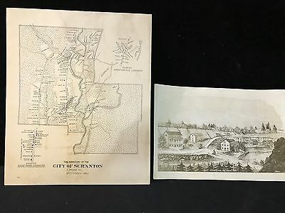 ****antique Map Of The City Of Scranton And Photo From 1840****