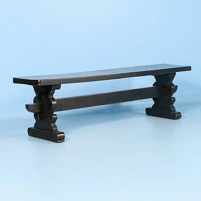 Antique Danish Oak Bench Painted Black, circa 1900