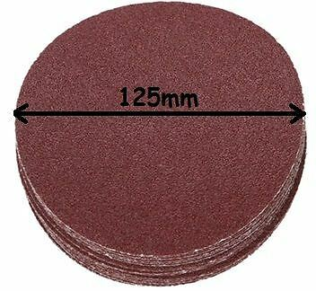"Hook & Loop 125mm 5"" Sanding Disc 40/60/80/120/240 Grit, Velcro back, Many Packs"