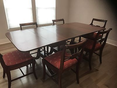 Beautiful Antique Drop Leaf Table And 6 Chairs