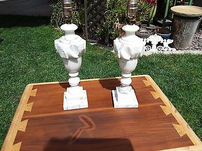 Pair Of Vintage Italian Alabaster Carved Marble Table Lamps
