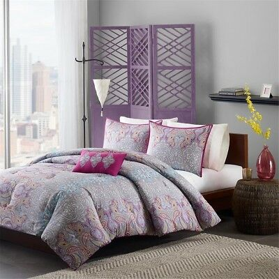 Purple Grey & Yellow Paisley Comforter Set  AND Decorative Pillow - ALL SIZES