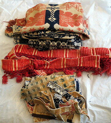 Antique Coverlet Scraps for Crafting - over 2 pounds!