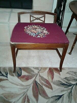 Antique Vanity Stool Bench French Needlepoint Burgundy Floral