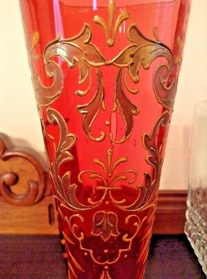 Antique Victorian Cranberry Gold Gilt Enamel Flower Scroll 8.5inchArt Glass Vase