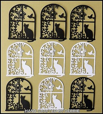 Cat In A Window Die Cuts X 10,card Making,embellishments,album,toppers,animals