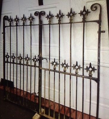 """Pair Of Antique Wrought Iron Church Gates 55.75"""" Wide 52.5""""High 19th Century"""