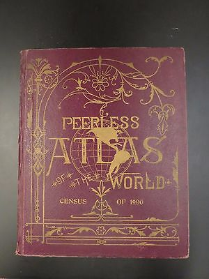 1901 Peerless Atlas of the World - Census of 1900 Hardback Original Printing