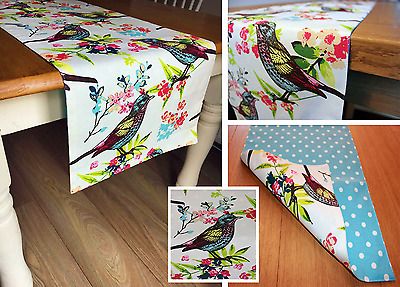Immaculate Double Sided Table Runner in 3 Sizes, With Bird Print and Polka Dot