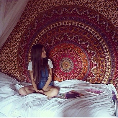 Elephant Mandala Wall Hanging Hippie Tapestry Ethnic Indian Bohemian Bedspread