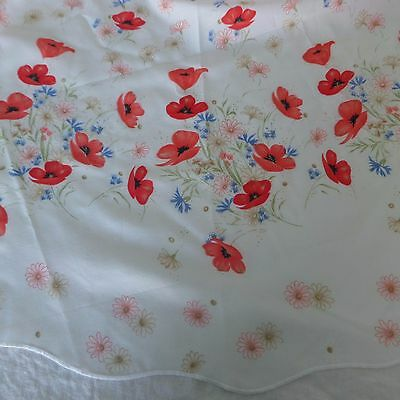 Red Poppies 62 Inch Round Tablecloth Scalloped Edge Made in Portugal