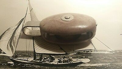 "2 "" Bronze Sheave Pulley Block Sail Boat Composite Ss Becket 5 1/4 Long 1/2 Line"