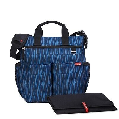 SKIP HOP Duo Signature Baby Diaper Bag Tote Shoulder Handbag BLUE Changing Pad