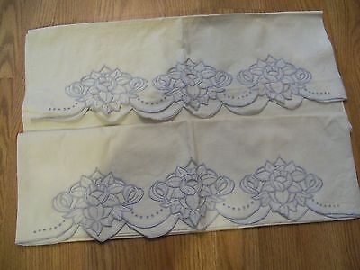 Vintage Cutwork Embroidered Flowers on Pair of Pillowcases, 22 x 28 - Pretty!