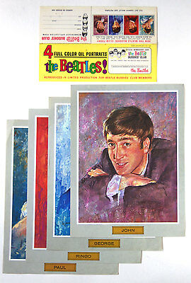 The Beatles Full Color Oil Portraits for Beatle Buddies' Club Members 1964