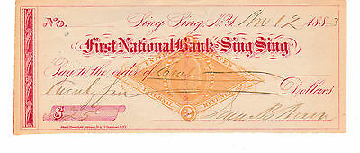Very Old  Check First National Bank, Sing Sing, Ny 1883  With Revenue
